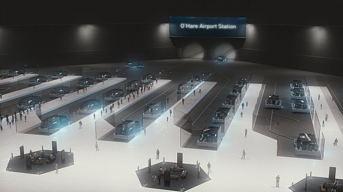 Rendering of the Boring Co.'s proposed tunnel station in Chicago