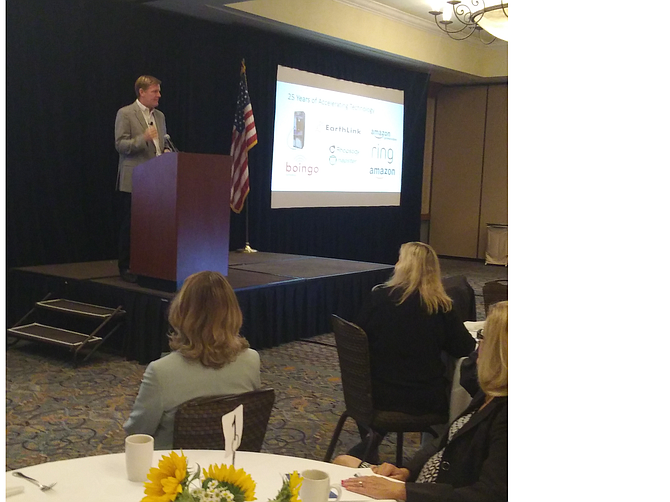Jon Irwin speaking at Greater Conejo Valley Chamber of Commerce Regional Economic Forecast on June 22.