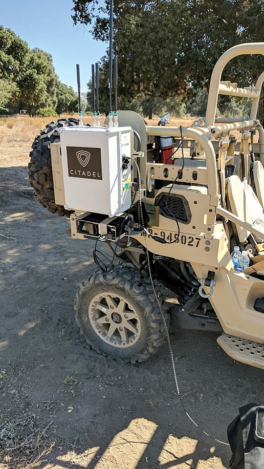 Citadel Defense electronics, which can disable approaching drones, ride on the back of a U.S. military vehicle. The National City company continues to grow on military contracts. Photo courtesy of Citadel Defense