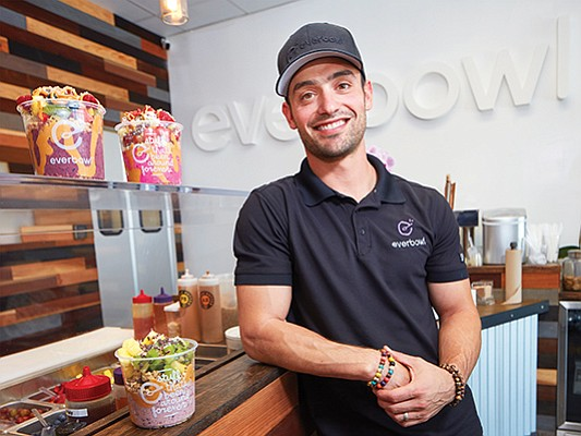 Jeff Fenster, CEO of Everbowl, at the company's Scripps Ranch store. Fenster says he sells more than 55,000 bowls a month at his locations.