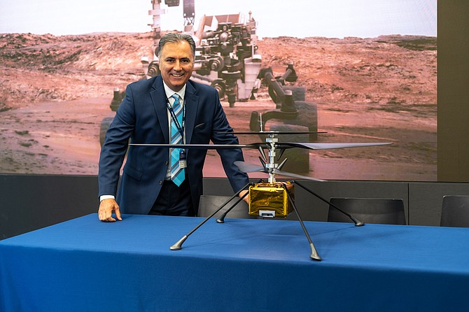 AeroVironment Inc. Chief Executive Wahid Nawabi with Mars drone.