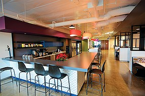 The cafe in the Torrey Pines offices of Tealium, a software company, was one of the projects done by the women-owned Johnson & Jennings General Contracting. Women account for only 9 percent of those working in construction throughout the United States. Photo courtesy of Johnson & Jennings General Contracting