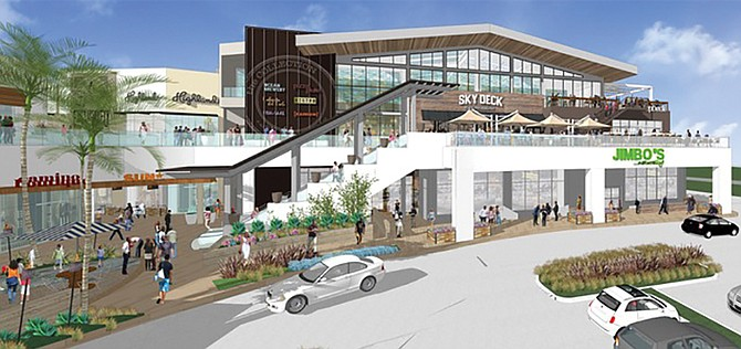 Above: Del Mar Highlands Town Center in Carmel Valley is undergoing a $120 million expansion, including an area it sees as a public gathering space. Rendering courtesy of Donahue Schriber Realty Group