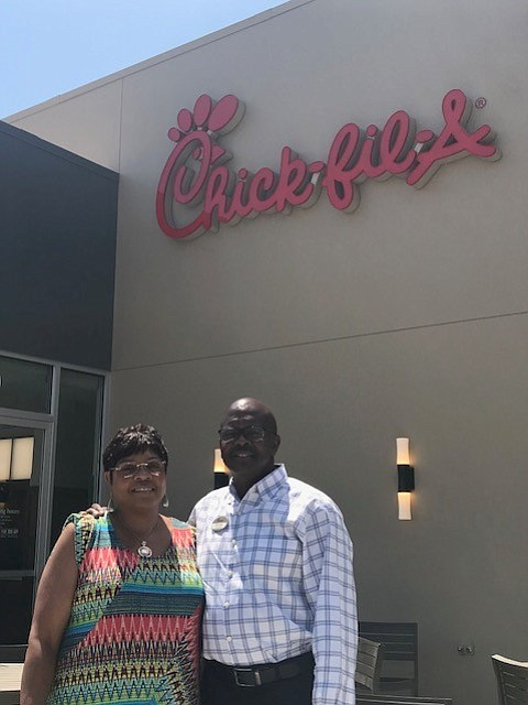 Chick-fil-A franchise owner Rudy Neal, left, and wife Angela at West Hills location.