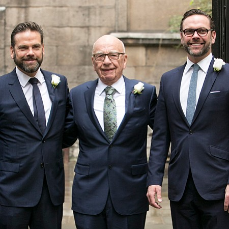 James and Lachlan Murdock, with their father Rupert Murdoch (center)