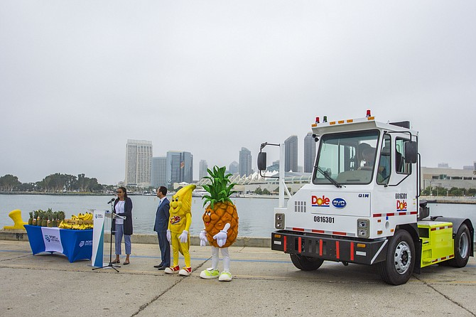 Janea Scott, commissioner, California Energy Commission, left, and Rafael Castellanos, chairman, Port of San Diego at the introduction of the port's new sustainable vehicles.