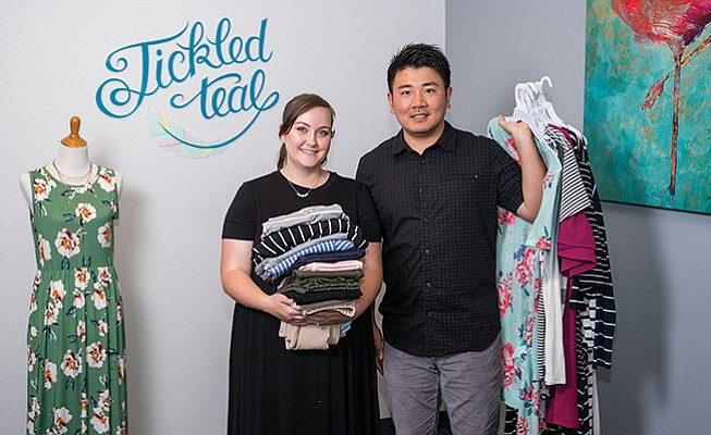 Tickled Teal sells its women's clothing line direct to consumers, at boutique shops around the country and other e-commerce sites. Photo by Bob Hoffman Video and Photography
