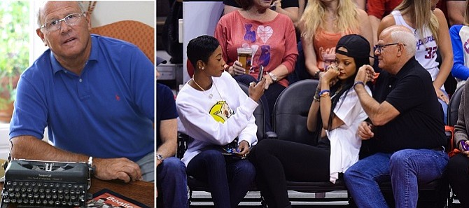 Old School/New School: (Left) Los Angeles Police Commission President Steve Soboroff uses a vintage typewriter for personal missives when a group email won't do. (Right) Soboroff takes a photo with pop star Rihanna at a Los Angeles Clippers game
