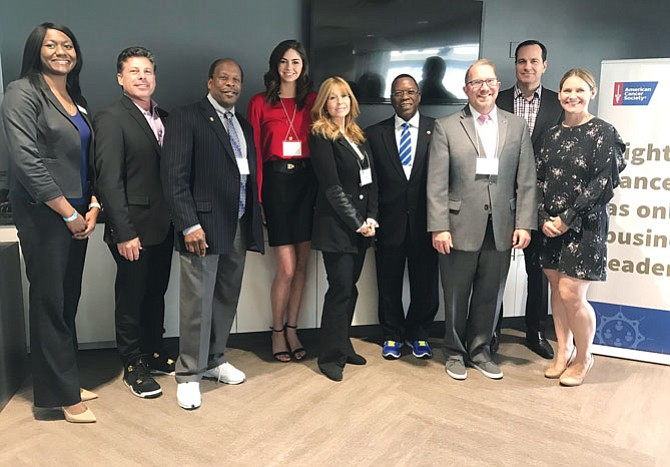 (Left to right) American Cancer Society Senior Director, Regional Corporate Relations West Region Crystal Yelverton and CEOs Against Cancer chair Joel Helmke host business leaders and volunteers at the first chapter meeting of 2018 at Stub Center in Carson.