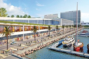 Rendering shows what an expanded downtown convention center would look like. Rendering courtesy of Port of San Diego