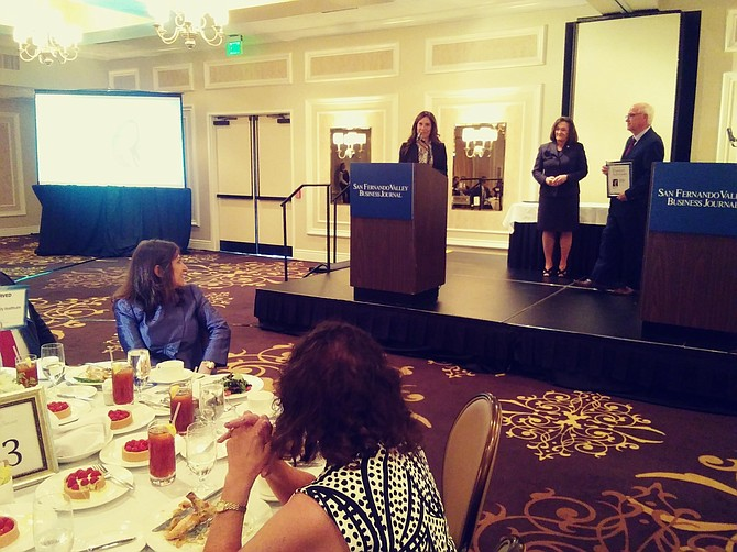 Byrdie Pompan of Clear Health Advisors at the San Fernando Valley Business Journal's Trusted Advisors Awards ceremony.