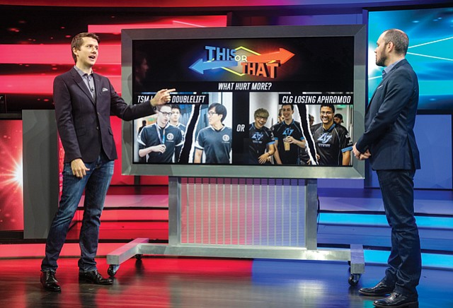 "Shoutcasters: Joshua ""Jatt"" Leesman, left, and David ""Phreak"" Turley, right, at Riot Games' West L.A. studio call out highlights from the North America League of Legends Championship Series."