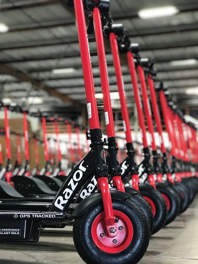 Seeing Red: Razor's first electric scooter share program rolled out in Long Beach this month.