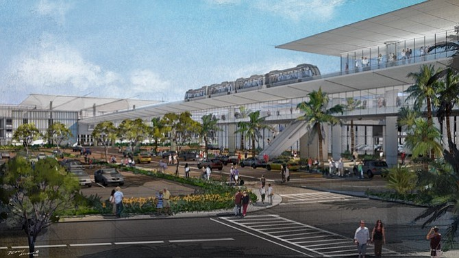 Rendering of the consolidated car rental facility at Los Angeles International Airport