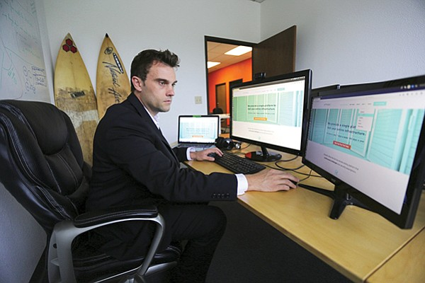 AttackIQ CEO Stephan Chenette in 2016 at the cybersecurity company's office.