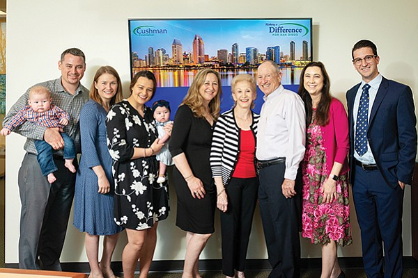 The Cushman family from left: Nikolas Parrish, Kristen Parrish, Britny Camacho, Debby Cushman Parrish, Marjorie Cushman, Stephen Cushman, Lori Cushman Moore, Trevor Moore announce donations of $1.2 million to San Diego nonprofits. Photo courtesy of the Cushman Foundation