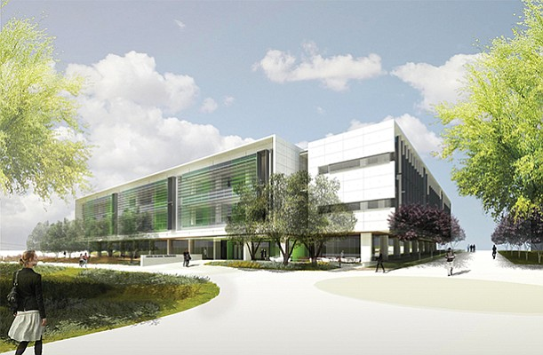 A rendering of the UC San Diego Center for Novel Therapeutics in UTC. The new research complex in partnership with BioMed Realty will house pharmaceutical firms along with the university's own researchers. Rendering courtesy of BioMed Realty