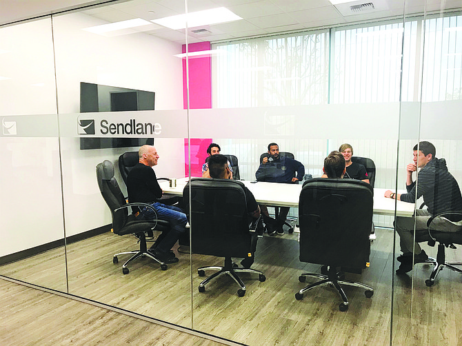 Weekly meeting at Sendlane headquarters in Scripps Ranch. Photos courtesy of Sendlane