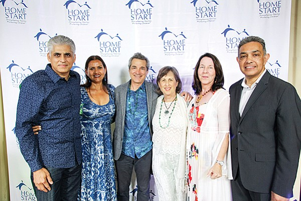 Mohit Bhushan, left, Sharmila Bhushan, Aleck Karis, Karen Hirschfeld Karis, honorary Committee Co-Chair Fiona Mackin-Jha, and Sanjay Jha at Home Start Inc.'s 46th Annual Blue Ribbon Gala. Photo courtesy of Home Start Inc.