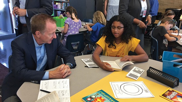 Opening Day: Beutner visited with fifth-grade students at Coeur D'alene Avenue Elementary School in Venice on Aug. 14, the first day of classes.