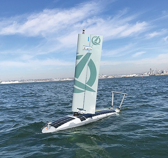 Ocean Aero's submaran vessel travels on the water's surface using its wing-like sail, and beneath the water as a glider. The hull is 14 feet long. Photo courtesy of Ocean Aero
