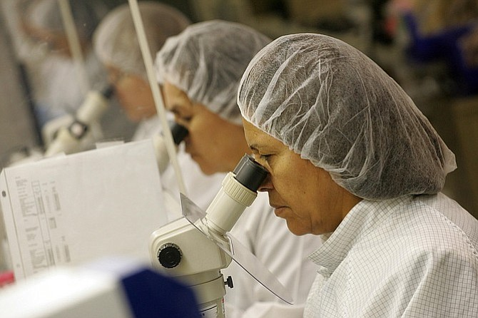 Workers at Monrovia implantable contact lens maker Staar Surgical (photo by Ringo Chiu)