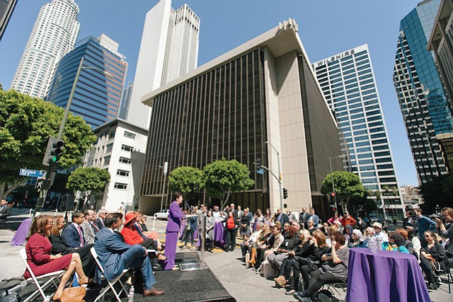 Earlier Honor: The city named intersection of Wilshire and Hope Street in honor of Schatz.