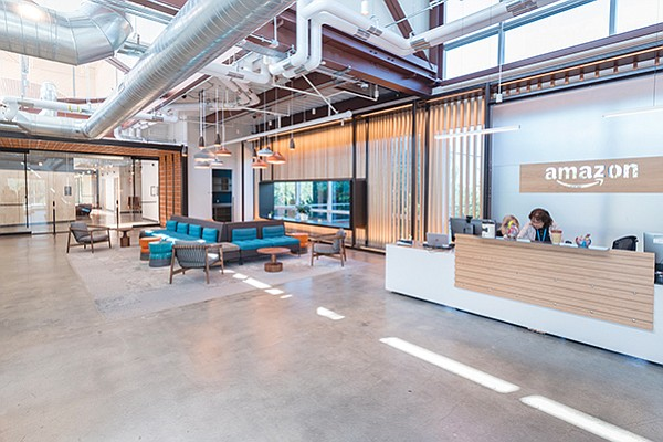 """""""Amazon.com Inc. has leased 85,000 square feet in University City for its San Diego Tech Hub. Photo courtesy of Amazon.com Inc. This article or graphic accompanied the story, """"Amazon, Walmart Labs Need Local Tech Talent"""" by Brad Graves."""