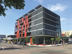 The recently completed Block D by Lankford & Associates in downtown San Diego's East Village was constructed as an energy efficient green building with rooftop solar panels and a design that takes advantage of natural ventilation.
