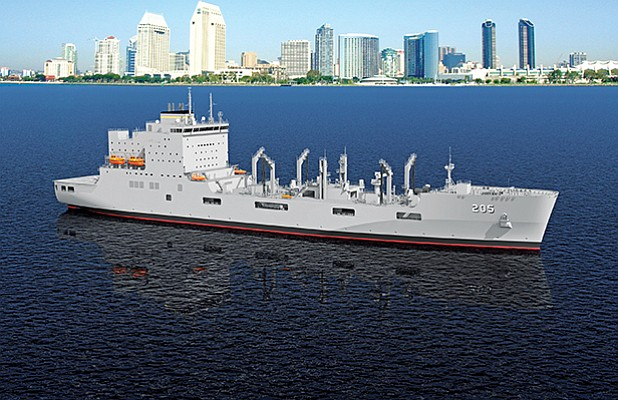 A photo illustration depicts the future USNS John Lewis, the U.S. Navy's next-generation oiler, against the San Diego skyline. General Dynamics NASSCO was scheduled to begin construction Sept. 20. Rendering courtesy of General Dynamics NASSCO