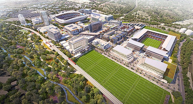 Rendering shows proposals for the redevelopment of the former Qualcomm Stadium site from SoccerCity. Rendering courtesy of SDSU and SoccerCity
