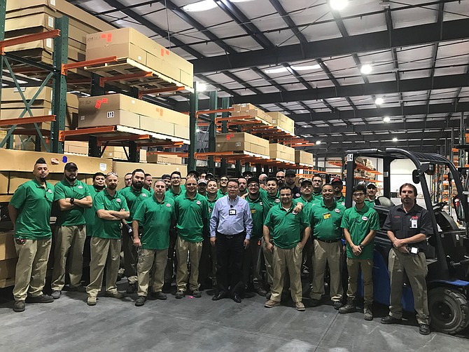 Crew at opening of BYD warehouse in Lancaster.