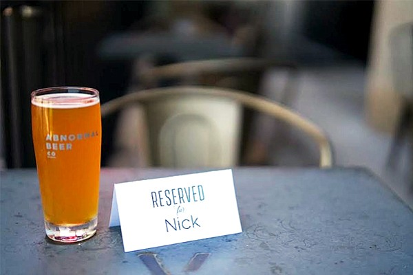 Co-founders of Abnormal Beer Co. posted this photo on their company Facebook page inviting 3 Floyd's co-owner Nick Floyd to resolve trademark issues over a beer. Photo courtesy of Abnormal Beer Co.