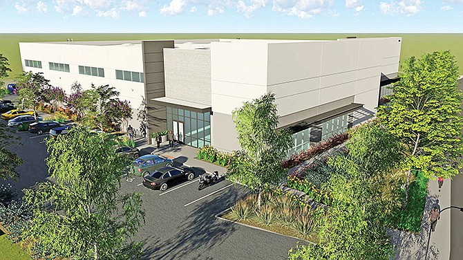 A new industrial building in Kearny Mesa will replace an office building that was torn down. Rendering courtesy of CBRE