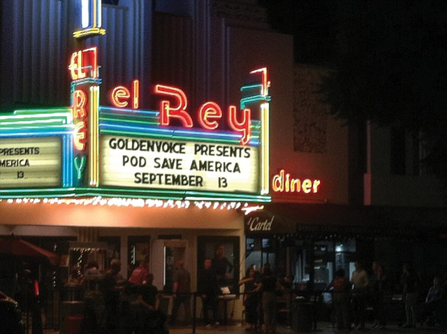 "On Air: Crooked Media's ""Pod Save America"" went live at El Rey Sept. 13."