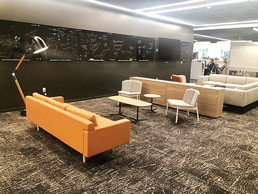 A collaborative workspace at Teradata Corp.'s San Diego headquarters. The company added 65,000 square feet to its offices in Rancho Bernardo shortly after naming the site its headquarters. Photo courtesy of Teradata