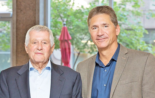 Ionis CEO Stanley Crooke (left) and chief operating officer Brett Monia. Photo courtesy of Ionis Pharmaceuticals