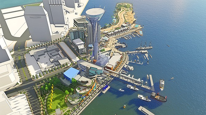Rendering shows tentative plans for Seaport, the $1.2 billion redevelopment of a portion of the downtown San Diego waterfront that includes Seaport Village. Rendering courtesy of Gafcon