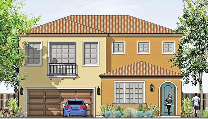 Rendering shows an example of the single family homes planned for the Oceanside development. Rendering courtesy of California West Communities