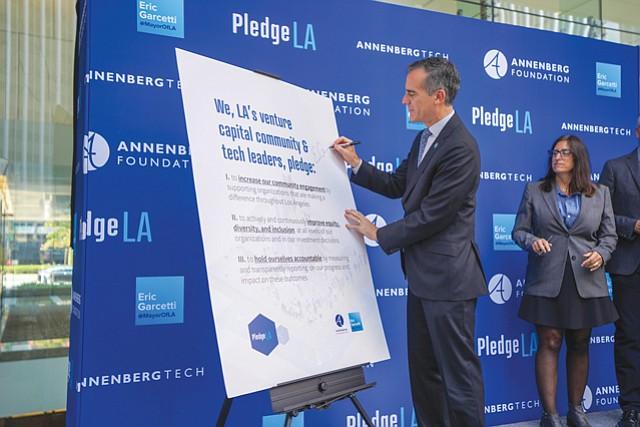 Mayoral Pledge: L.A. Mayor Eric Garcetti at PledgeLA launch.