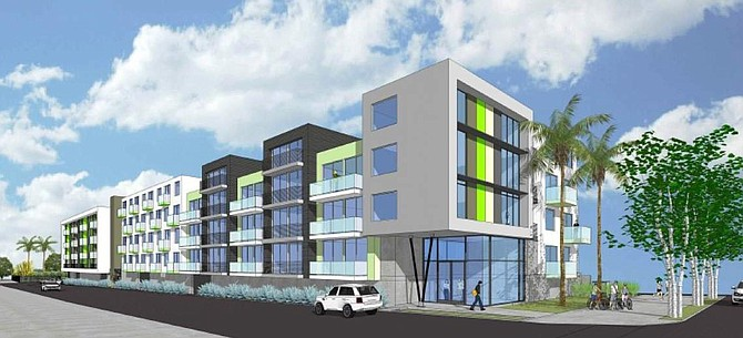 Rendering of apartment project at 11036 W. Moorpark St. in Toluca Lake.