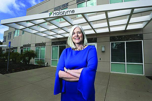 Halozyme CEO Helen Torley poses in front of the company's San Diego office. The biotech recently inked another deal with pharmaceutical giant Roche. File photo by Jamie Scott Lytle