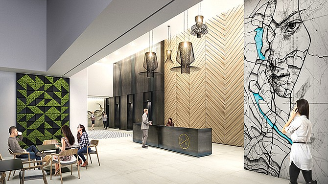 Coworking company Spaces is the first tenant lined up for the former U.S. Bank building in Little Italy. Renovations for the building, which is expected to open next year, include a café. Renderings courtesy of Cushman & Wakefield