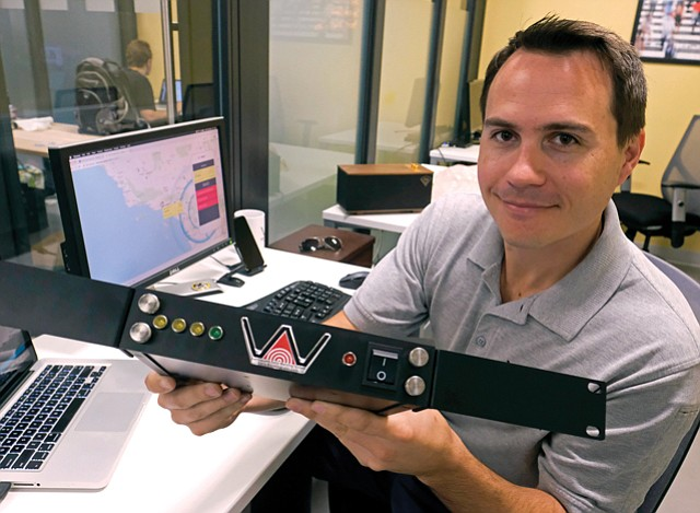 Shake and Bake: Early Warning Labs' CEO Josh Bashioum with QuakeAlert system.