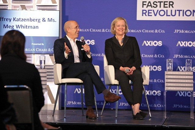 Prominent Position: Katzenberg and Whitman onstage at an Axios conference at UCLA Oct. 30.