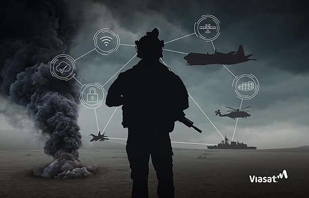An illustration shows Viasat's vision of a soldier connected to his unit through telecommunications. The company wants to deliver cloud-based applications to the soldier. Rendering courtesy of Viasat Inc.