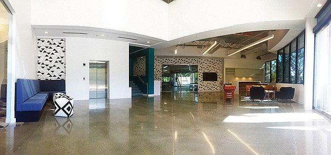 The renovated lobby at 5717 Pacific Center. Photo courtesy of Cushman & Wakefield