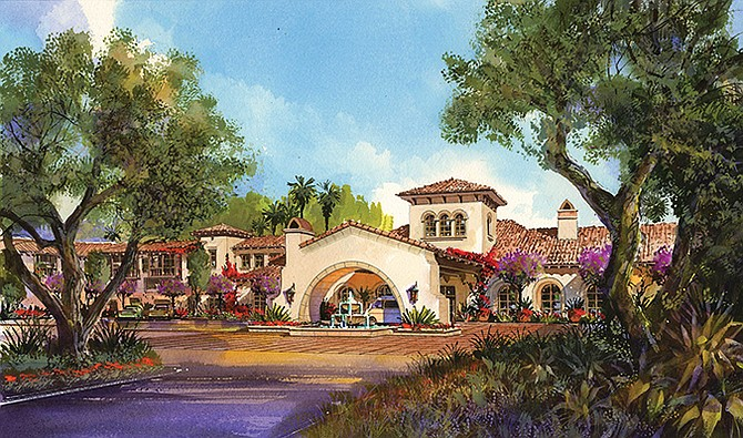 Rendering shows the entrance to The Glen at Scripps Ranch. Rendering courtesy of The Glen at Scripps Ranch