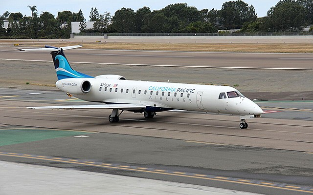 California Pacific Airlines will use a small fleet of 50-seat regional jets made by Embraer. Photo courtesy of California Pacific Airlines