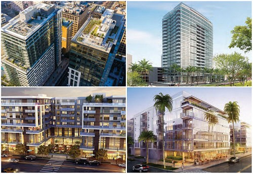 Top Left: The Grace and The Griffin on Spring, Los Angeles, CA | Holland Partner Group, Top Right: Wilshire Curson, Los Angeles, CA | JH Snyder Company, Bottom Left: Main Street Park, Los Angeles, CA | Jade Enterprise, Bottom Right: 9200 Wilshire, Beverly Hills, CA | New Pacific Realty